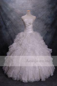 Modern ball gown strapless lace-up beading organza wedding dress