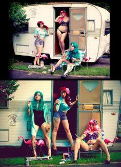 Trailer Trash Gals 1 by Uvudu-Imaging on deviantART Rockabilly Pin Up, Rockabilly Fashion, White Trash Bash, White Trash Party Outfits, Trailer Park Girls, Girls Twitter, Redneck Girl, Camper, Vintage Trailers