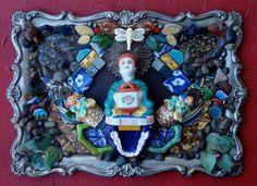 Mosaic Assemblage on aged metal, Carolyn Machado