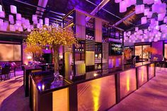 Fox Hulu Party: Below the lantern installation sat the main bar, an onyx grid design meant to incorporate all of the warm tones used throughout the space. Party Pictures, Grid Design, Wine Festival, Golden Globes, Event Design, Lanterns, Fox, Mansions, House Styles