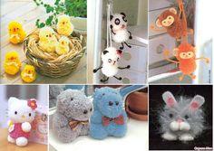 животные и птицы из помпонов, помпоны из ниток схема нарезки нитей, ципленок, бегемот, заяц, хеллоу китти, панда, обезьяны из помпонов