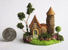 Handmade Miniature FAIRYTALE STONE FAIRY COTTAGE HOUSE - by C. Rohal #CRohal