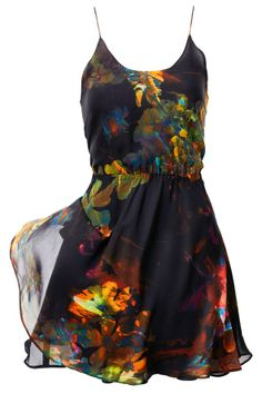 Gorgeous thin strap floral black dress
