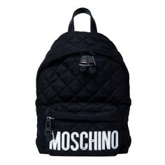 MOSCHINO Lettering Padded Medium Backpack (€320) ❤ liked on Polyvore featuring bags, backpacks, accessories, black, patterned backpacks, moschino bags, initial bags, backpack bags and padded bag