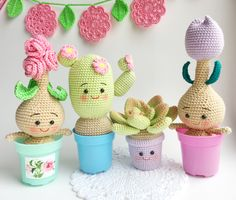 Handmade crochet amigurumi dolls toys plants pattern by YuYuToys Crochet Patterns Amigurumi, Amigurumi Doll, Crochet Dolls, Crochet Cactus, Crochet Flowers, Handmade Christmas Gifts, Handmade Gifts, Star Wars Christmas, Tsumtsum