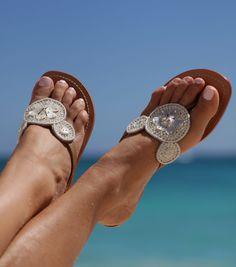 Aspiga | Anala Ivory Leather Sandals by Aspiga $75