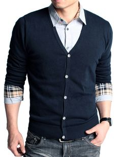 Slim Fitted V-Neck Sweater Cardigan For Men Fashion