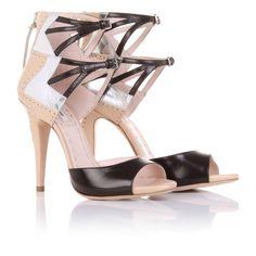 Miu Miu tri-color cut-out leather sandals