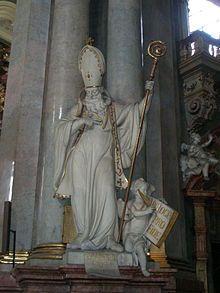 Statue of Saint Basil, depicting him in Western vestments, in the Church of St. Nicholas, Mala Strana, Prague, Czech Republic..