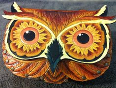 """Leather purse, handbag- """"Seeing Sunflowers"""" tooled leather owl purse with sunflower eyes"""