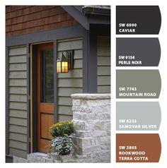 Cabin Exterior Colors, Cabin Paint Colors, Outdoor Paint Colors, House Exterior Color Schemes, Mountain Home Exterior, Exterior Paint Colors For House, Paint Colors For Home, Exterior House Paint Colors, Outside House Paint Colors
