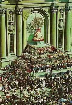 Ofrenda de flores a la Virgen del Pilar A vintage postcard of the offering of flowers to Our Lady of the Pillar in Zaragosa, Spain Blessed Mother, Mother Mary, All Saints, Our Lady, Holy Spirit, Catholic, Faith, Altars, Folklore