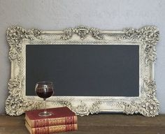 Check out Large Frame Ornate Vintage Chalkboard Wedding Frame French European Design Large Framed Hand Painted Aged Distressed  Circa 1950 on decadesemporium