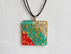 Pink Teal and Grey Gold Flakes Resin Necklace - Handmede Resin Jewelry and Accessories