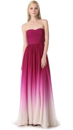 Bridesmaid 1 : Semi-Sweetheart Neckline in Fuchsia Ombre Dress by Monique Lhuillier