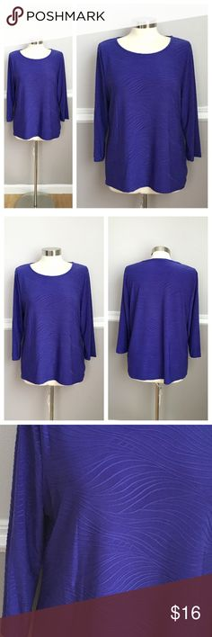 Purple Top Purple 3/4 sleeve top with wave print. 92% polyester 8% spandex. Petite XL JM Collection Tops
