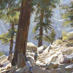 Mike Hernandez My boy Adam hiking the Mt Whitney trail 6x6 gouache