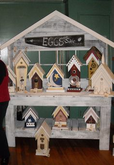 Potting Bench    Another Potting bench I built with some more of my painted birdhouses, I wanted a more rustic paint finish -it was a great display