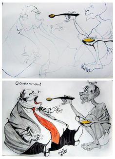 Government Vs People Concept Sketch