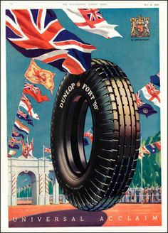 1935 Dunlop Tires Vintage Illustrated Print Ad Awesome Tire Advertising Art | eBay