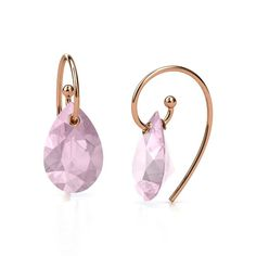 Pear Rose Quartz 14K Rose Gold Earrings - Monsoon Earrings | Gemvara