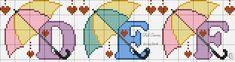 Pastel Umbrellas Alphabet Cross Stitch Pattern J K L Pixel Crochet, Cross Stitch Letters, Alpha Patterns, Labor, Cross Stitching, Stitch Patterns, Embroidery Designs, Initials, Kids Rugs