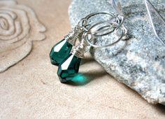 Emerald Green Swarovski Crystal Silver by JulieGregoryDesigns