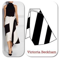 The Victoria Beckham asymmetric skirt is very eye-catching in black and white. There is draping, a wrap that closes with a hook and eye at the waistline and color-blocking. Fashion Model Drawing, Fashion Drawing Dresses, Fashion Design Drawings, Fashion Sketches, Fashion Dresses, Skirt Patterns Sewing, Clothing Patterns, Pattern Sewing, Victoria Beckham