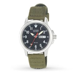 96c36a49bb9 Citizen Eco-Drive Men s Watch With Green Canvas Strap