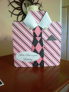 'Real men wear Pink' birthday card. handmade card