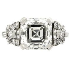 Art Deco Asscher cut diamond ring | From a unique collection of vintage engagement rings at http://www.1stdibs.com/jewelry/rings/engagement-rings/