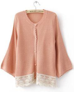 Pink Puff Long Sleeve Lace Embellished Hem Cardigan Sweater