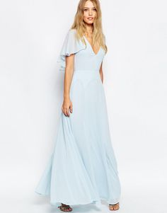 A-Line Baby Blue V-Neck Chiffon Floor Length Elegant Bridesmaid Dress Flutter Sleeves