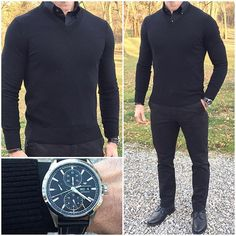 WEBSTA @ chrismehan - Back in Black ⚫️⚫️⚫️ I decided to go with a monochrome black look today. Do you like this outfit❓Boots: @thursdayboots Black WingtipsWatch: @hamiltonwatch Shirt: @batchmens Sweater: @bananarepublic Pants: @jcrewmens Bracelet: @bryerleather