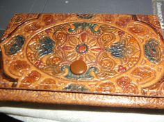 Italian Tooled Leather Coin Change Purse 1929 vintage #HandMadeinItaly…