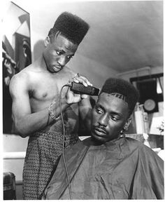 Flat Top Haircut Black Men | some brothers 'getting their hair hooked up'... cop those tramlines ...