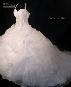 1 of my top 2....Wholesale Halter Beads Organza Wedding Dress Long Train Custom A-line Bridal Ball Gown Sz 2 4 6 8 10 12 14 16, Free shipping, $152.6-178.25/Piece   DHgate
