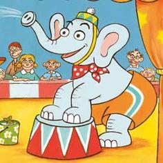 Pohlednice se slonem a myšákem v cirkusu