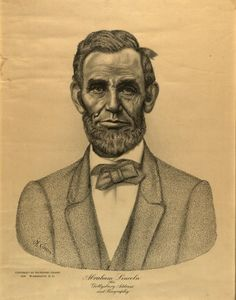 Abraham Lincoln: His Gettysburg Address and Biography  Micrographic portrait by Nathaniel Chasin, 1926    Micrographic drawing means using words to create the image  Acquired in 2008 by the Abraham Lincoln Library and Museum..Springfield Illinois