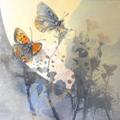 Wild Flower Meadow I Louise Bird - Layered Mono Print with Pencil