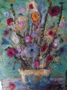 needle felted flowers,yarn,silk,curly tips,on wool felted background. Felt Wall Hanging, Wooly Bully, Felt Pictures, Fabric Pictures, Needle Felting Tutorials, Felt Embroidery, Wool Art, Nuno Felting, Felt Art