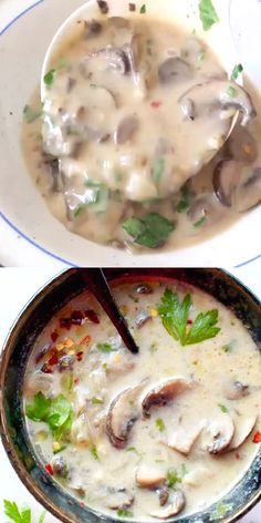 Simple vegan cream of mushroom soup recipe with silky coconut cream and loads of real sliced up baby bella mushrooms in the creamiest, silkiest, most flavorful broth ever. I can't believe it's vegan! Food Recipes For Dinner, Food Recipes Homemade Mushroom Casserole, Mushroom Soup Recipes, Easy Soup Recipes, Casserole Recipes, Vegetarian Recipes, Cooking Recipes, Healthy Recipes, Casserole Dishes, Baby Bella Mushroom Recipes