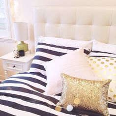 love this bedding set up - especially that headboard! - A Interior Design Gold Bedroom, Bedroom Decor, Gold Bedding, Striped Bedding, Gold Pillows, Accent Pillows, Bedroom Ideas, My New Room, My Room