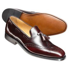 Burgundy tassel loafers | Men's business shoes from Charles Tyrwhitt, Jermyn Street, London. theperfectgentleman.tv