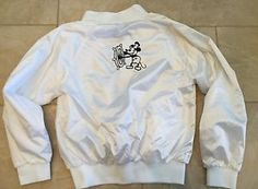 Vintage Womens Auburn Sportswear White Bomber Jacket Disney Mickey Mouse Sailing   eBay