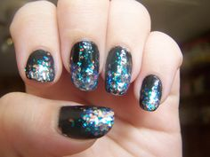 Iridescent Glitter Gradient: Revlon's Heavenly over Sinful Colors's What's Your Name