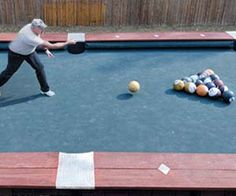 """Bowling Ball Billiards. """"It's not out of the ordinary for bowling alleys to have a pool hall, but this bowling ball billiards game brings the two sports together like never before! Played similar to a real game of pool, these giant billiard games are designed for cruise ships, hotels, and rich homeowners."""" Only $39,000.00. #cool"""