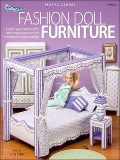"""Fashion Doll (13"""" H) Furniture ~~ Provide your little girl/boy with hours of playtime with 4 different furniture settings for their doll house. Settings include a bedroom suite, patio set, picnic set and living room set. Technique - Plastic Canvas Reader Favorite! Skill Level: Intermediate eBook Download Size: 30 page(s)"""