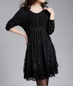 Black cotton dress Lace Dress Long Sleeve by originalstyleshop