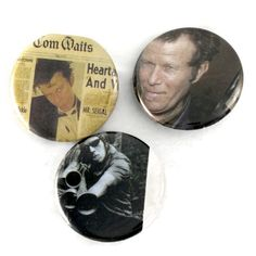 TOM WAITS Button Set Original Rain Dogs Music Badges, Rock Band Pins by JeepsterVintage on Etsy